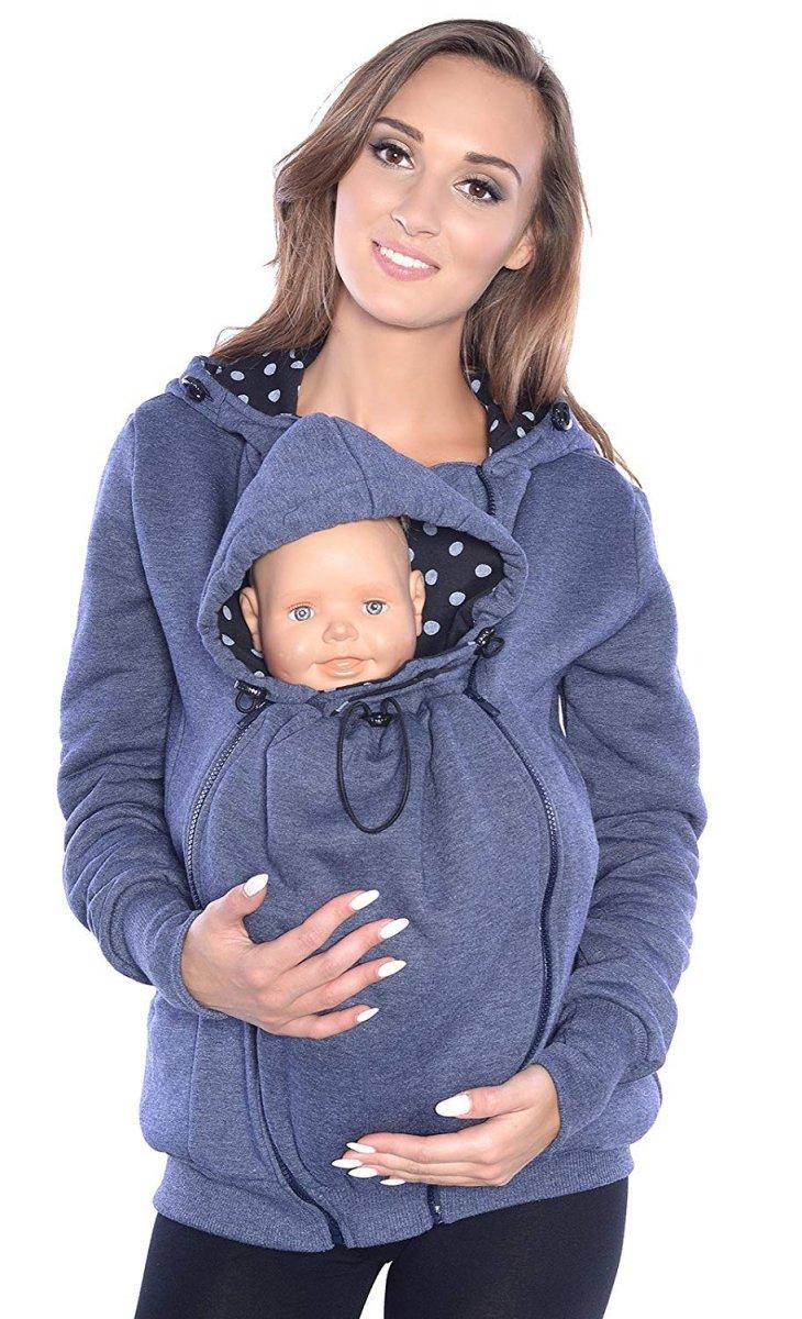 MijaCulture - 3 w1 bluza 3D ciążowa i do noszenia dziecka  4046/M50 jeans