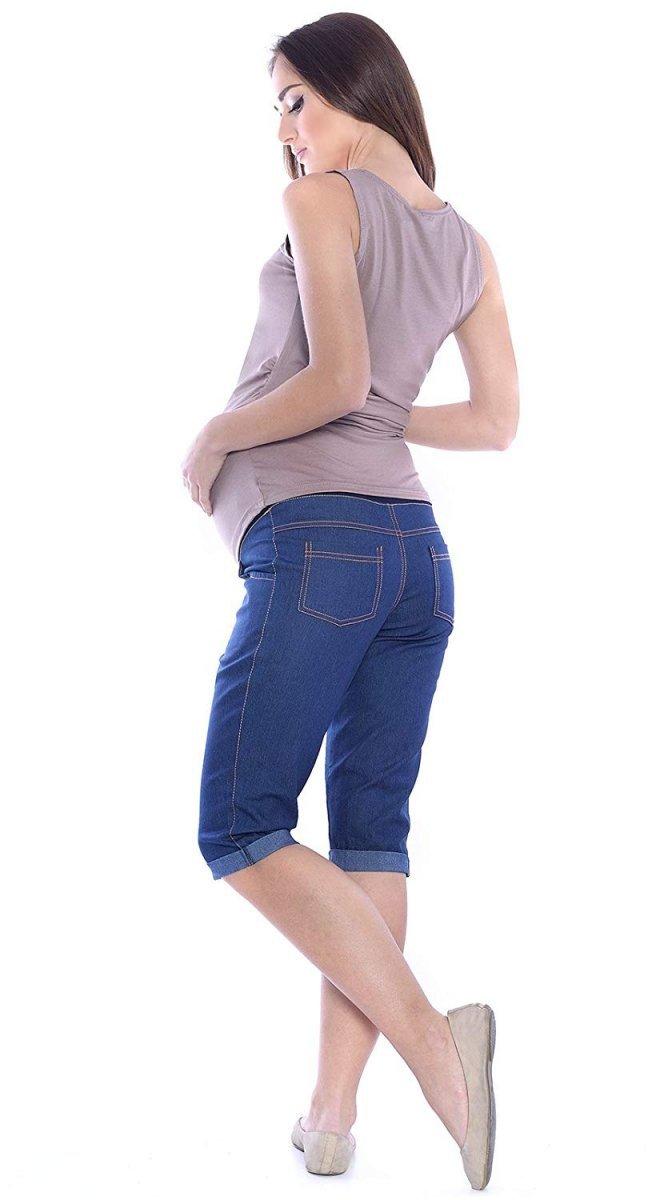 MijaCulture - spodnie rybaczki ciążowe 4015/M35  denim blue