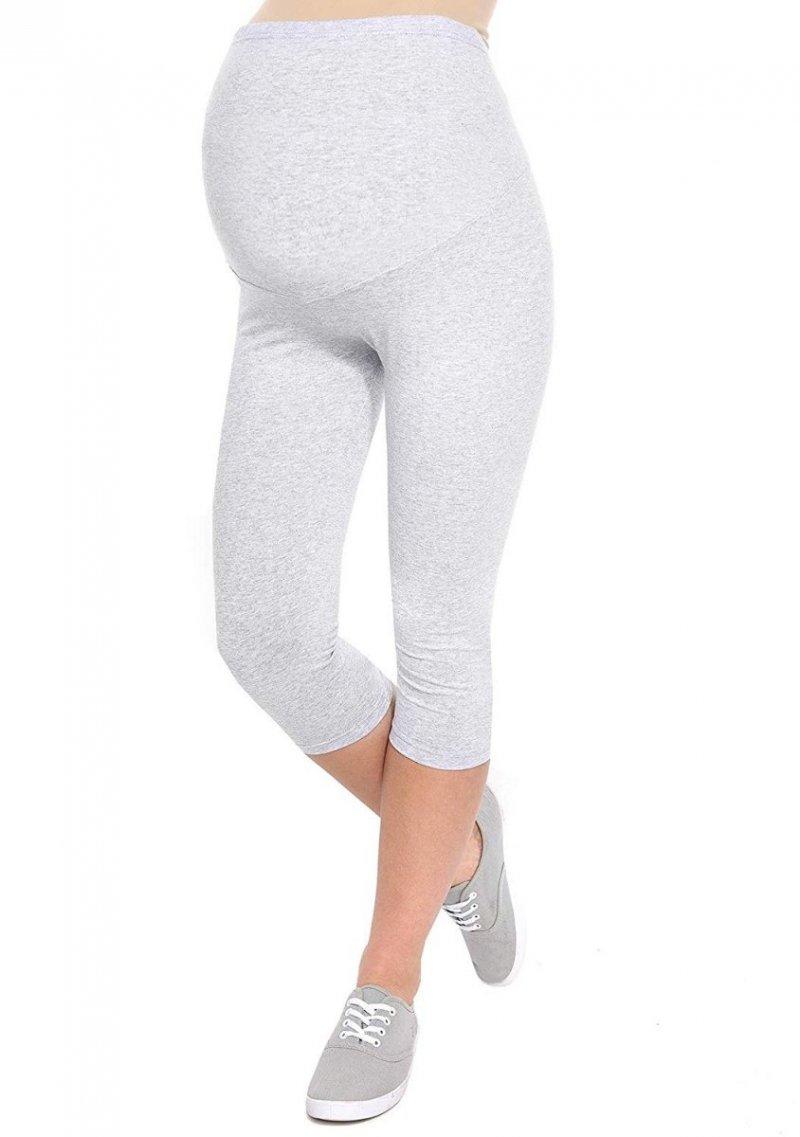 Komfortowe legginsy ciążowe 3/4 melanż