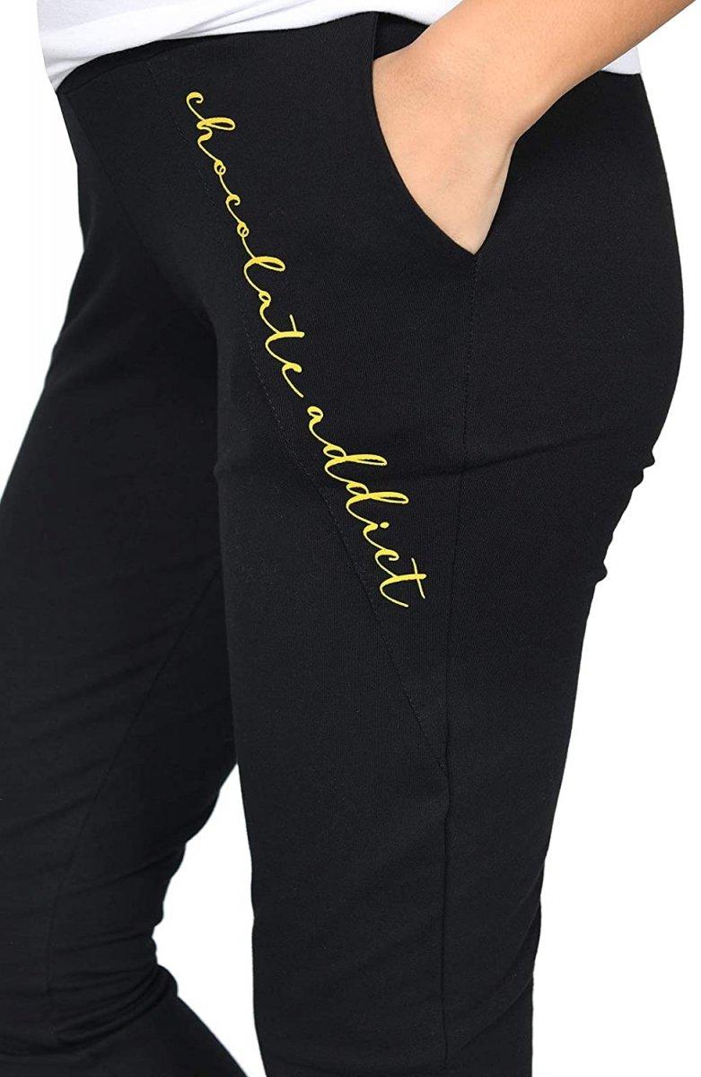 Wygodne ciążowe spodnie dresowe Chocolate Addict 9097 czarny2