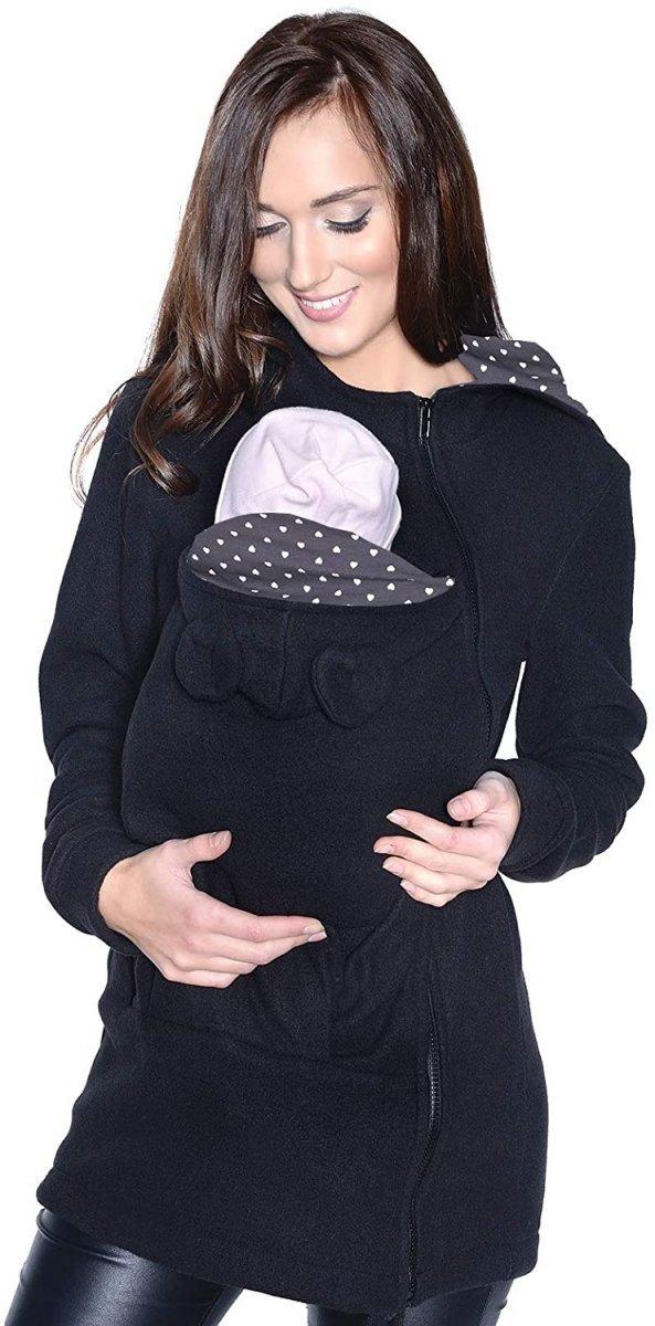 MijaCulture - polar do noszenia dziecka 3073A/ czarny/serca1