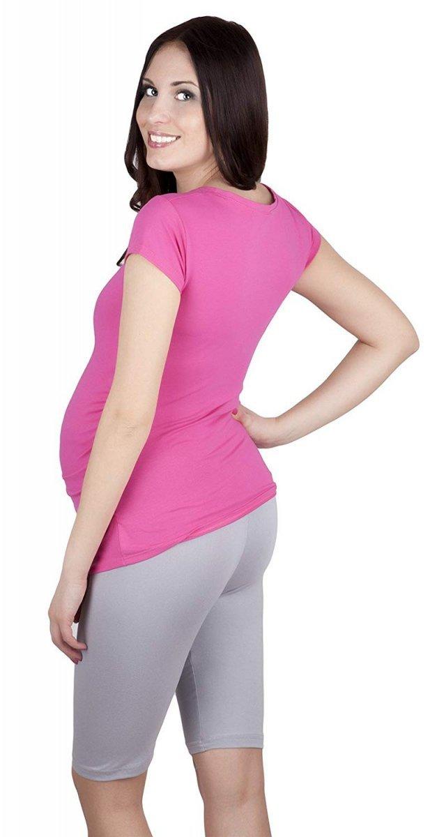 MijaCulture - wygodne krótkie legginsy ciążowe 4008/M25 szary