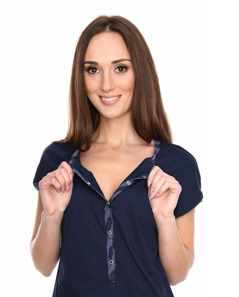 MijaCulture - 3 w 1 piżama ciążowa i do karmienia M79 granat/piórka