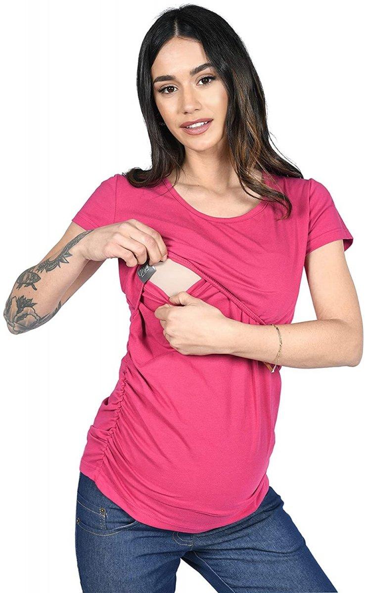 MijaCulture - bluzka 2 w 1 ciążowa i do karmienia krótki rękaw M03/3074 Sangria
