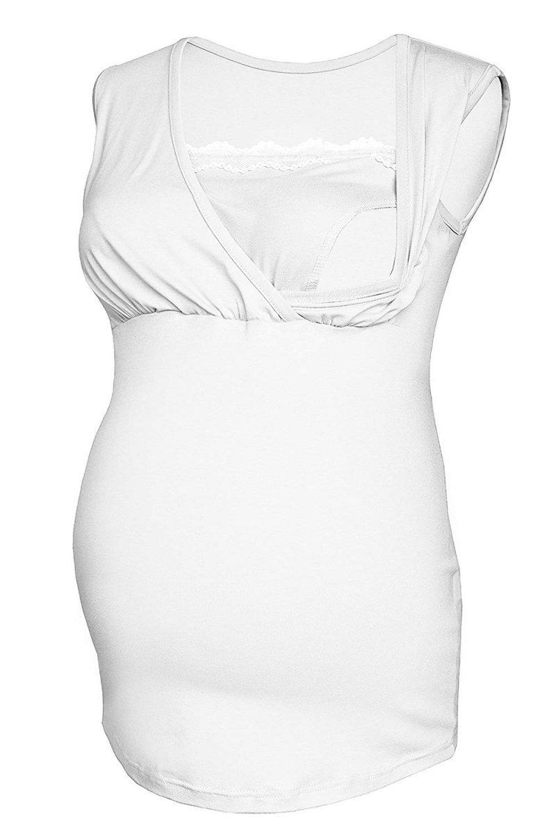 MijaCulture - top ciążowy i do karmienia z koronką  4032/M45 biały
