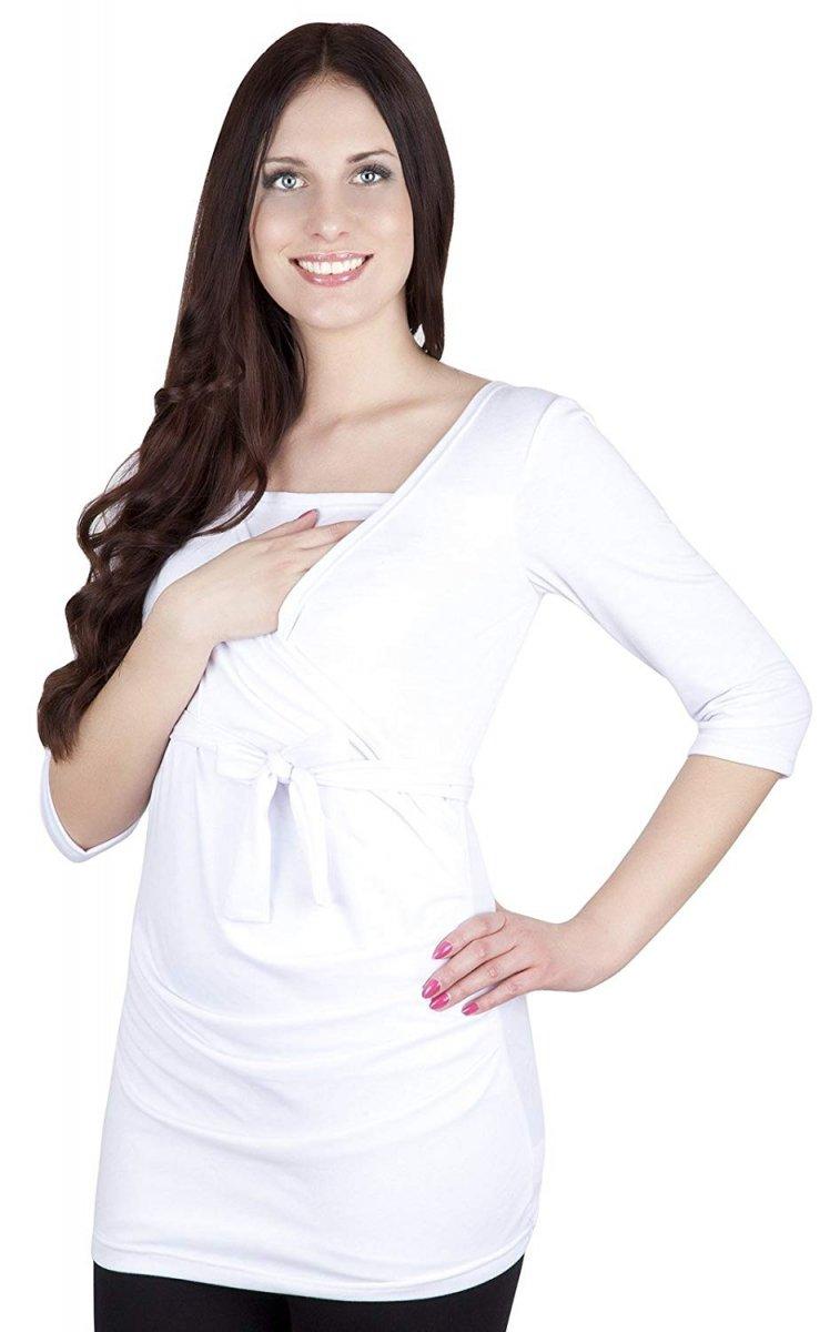 MijaCulture - bluzka z paskiem 2 w 1 ciążowa i do karmienia 4004/M23 biały