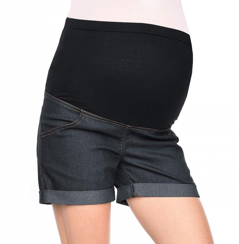 MijaCulture - szorty ciążowe 3086/M13 denim czarny