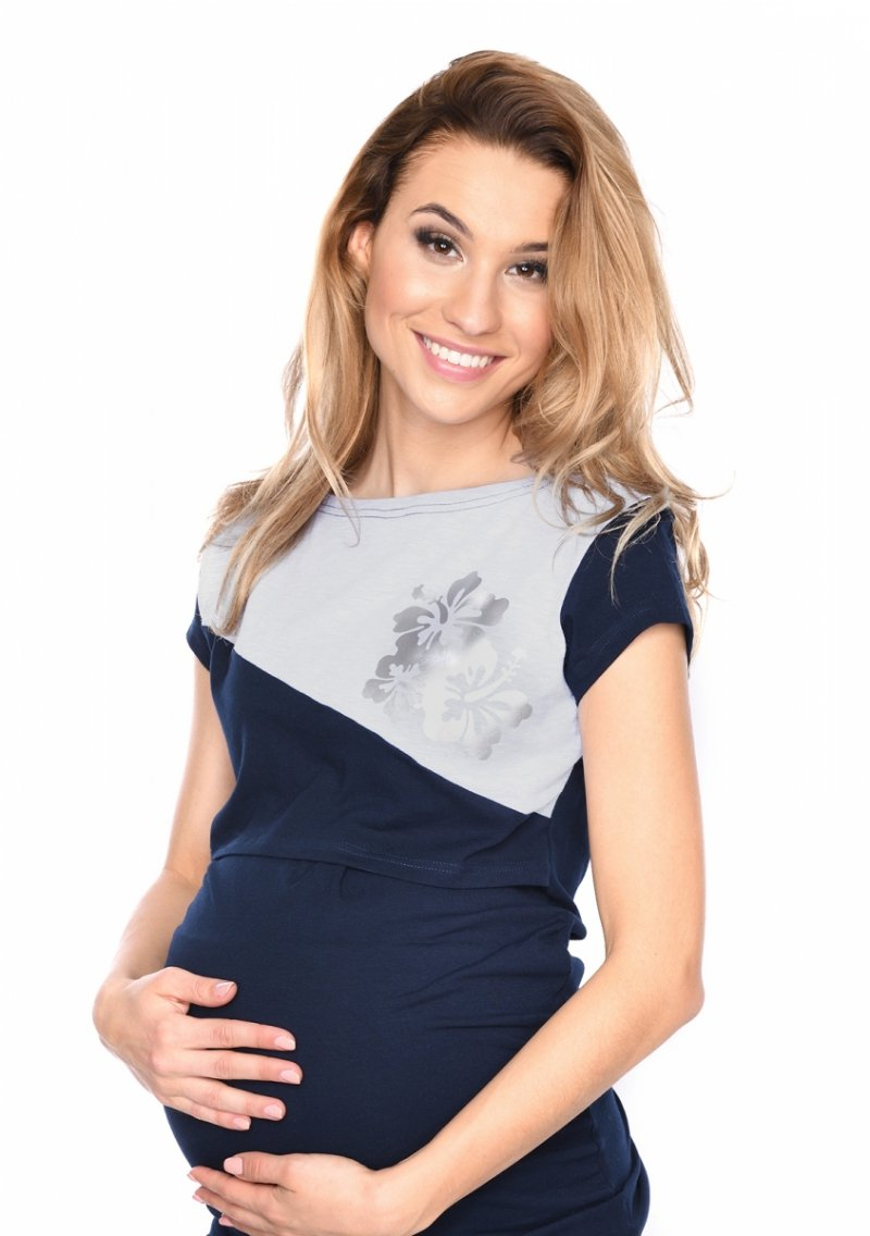 MijaCulture - urocza bluzka ciążowa i do karmienia Kwiaty 9093 granatowa 1