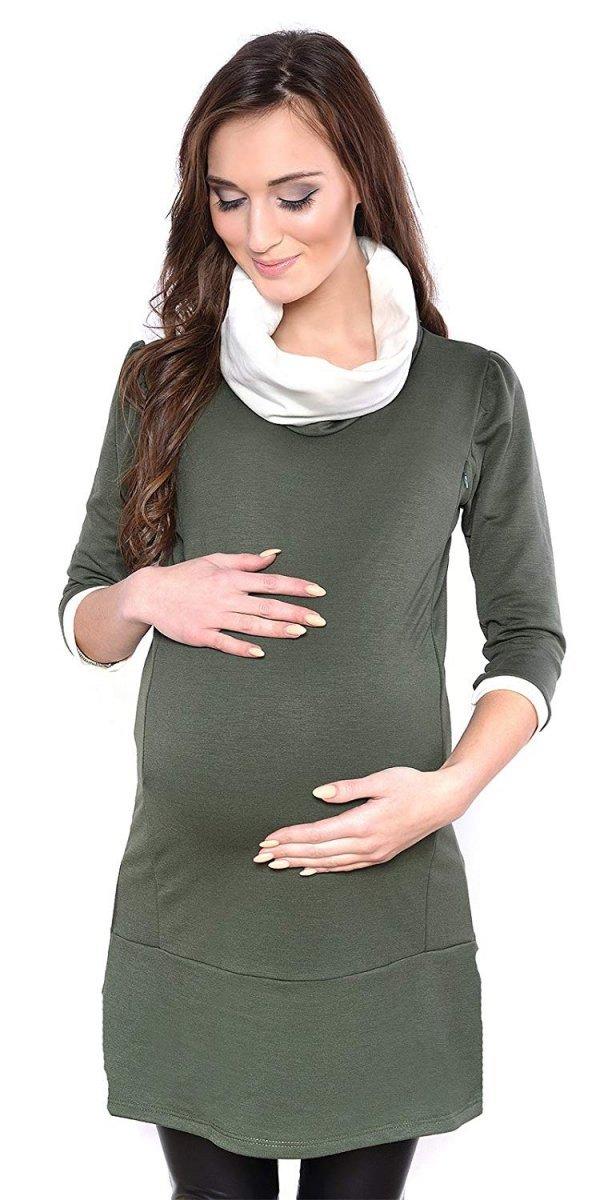 """MijaCulture - tunika 2 w 1 ciążowa i do karmienia """"Lady"""" 7130 zielona"""