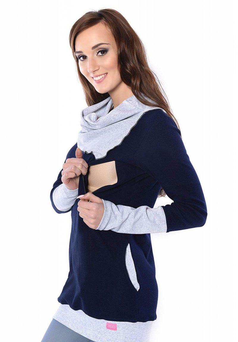 MijaCulture - bluza 3 w1 ciążowa  i do karmienia z asymetrycznym kołnierzem 4020/M05 granat/melanż