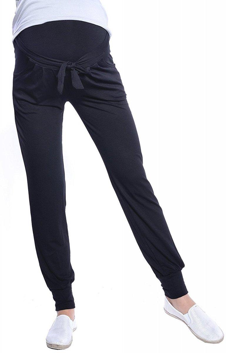 MijaCulture - spodnie alladynki ciążowe z panelem 4012/M33 czarny