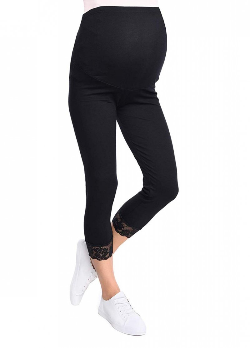 Komfortowe legginsy ciążowe 3/4 z koronką czarne