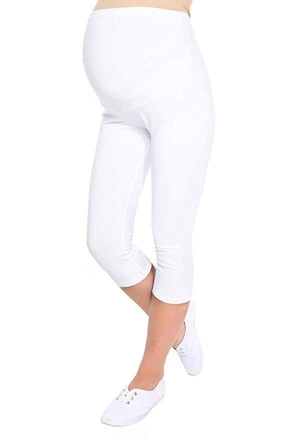 Komfortowe legginsy ciążowe 3/4 biały