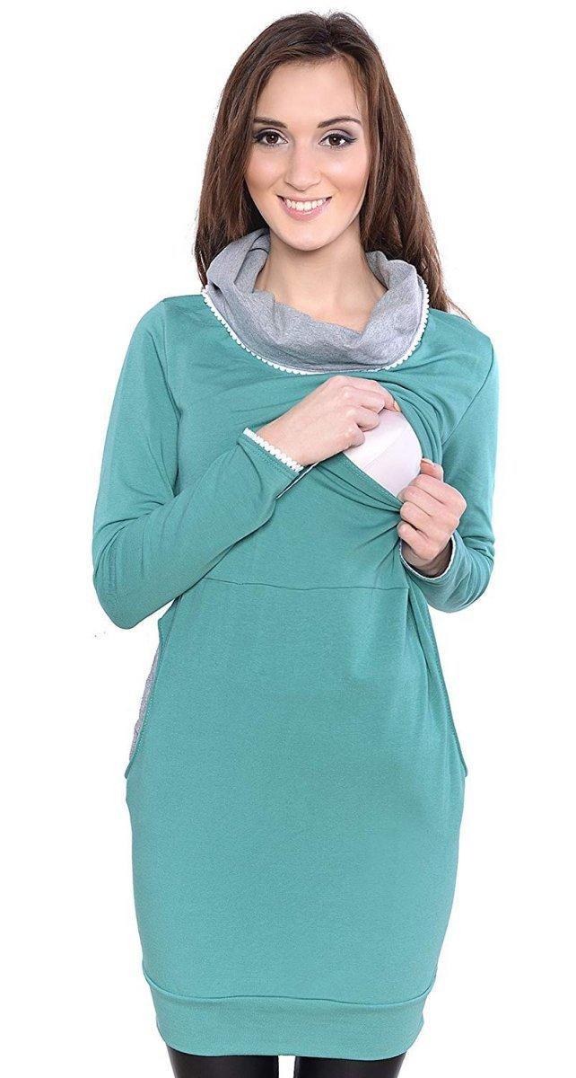 """MijaCulture - 3 w 1 bluza ciążowa i do karmienia """"Ellie"""" 7129 zielony"""