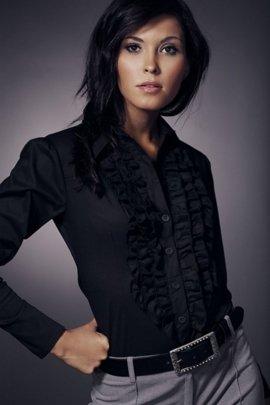 Koszula z żabotem długi rękaw - czarny - K01