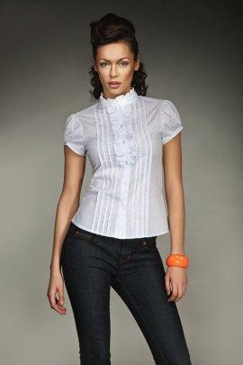 Urocza koszula z falbanką i zakładkami - biały - K26