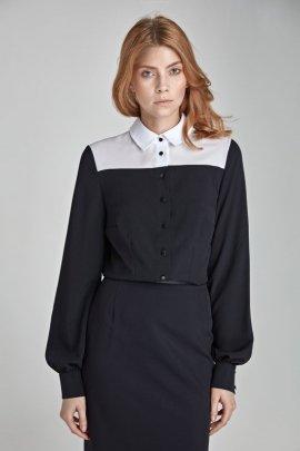 Dwukolorowa koszula - czarny - B29