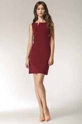Sukienka z rocięciem na dekolcie - bez rękawa - bordo - S37