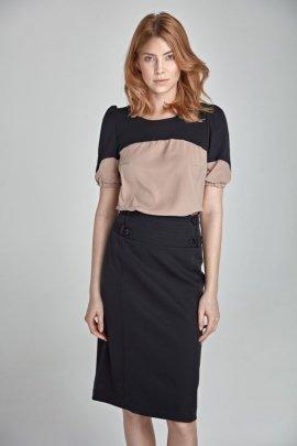 Elegancka spódnica z paskami - czarny - SP06