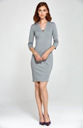Dzianinowa sukienka z dekoltem V- szary - S92