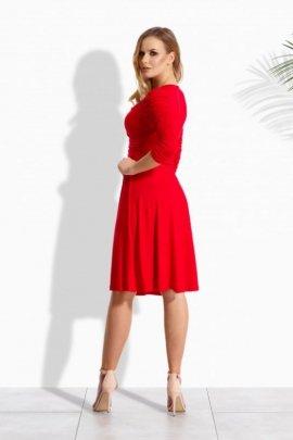 EM106 Elegancka kobieca sukienka z marszczonymi rękawami czerwony