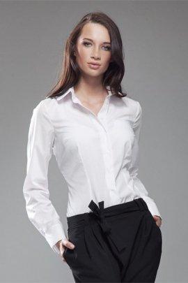 Koszula z okrągłym kołnierzykiem - biały - K35
