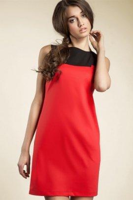 Czarująca sukienka dwukolorowa - czerwony - S25