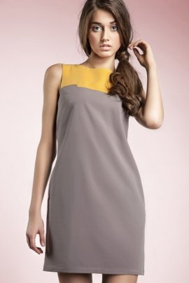 Czarująca sukienka dwukolorowa - mocca - S25