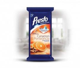 Presto Ściereczki czyszczące+płyn 2w1 uniwersalne Cynamon&Pomarańcza   1op.-72szt