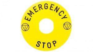 Tabliczka opisowa żółta okrągła fi90 EMERGENCY STOP ZBY8330