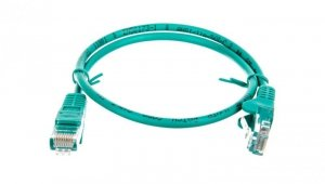 Kabel krosowy patchcord U/UTP kat.5e CCA zielony 0,5m 68338