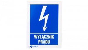 Tabliczka ostrzegawcza /WYŁĄCZNIK PRĄDU 52X74/ 8EIA/Q1/F