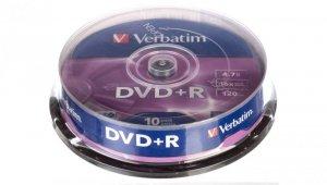 Płyta DVD+R VERBATIM 4,7GB x16 MATT SILVER /CAKE 10szt./