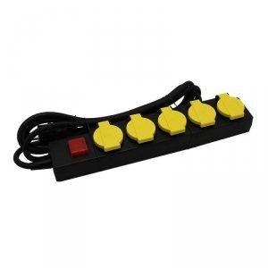 Przedłużacz Ogrodowy V-TAC 5 Gniazd z klapką 3m, Podświetlany Włącznik, IP44 Czarno/Żółty Schuko VT-1125-3