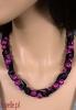 TIGER naszyjnik z kulek ze wzorem tygrysa na satynie kolory - biżuteria autorska