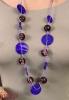 VIOLEN naszyjnik na lilowych sznureczkach, fioletowe i śliwkowe koraliki