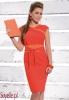 VILMA czerwona sukienka z pomarańczowymi wstawkami, pasek w komplecie