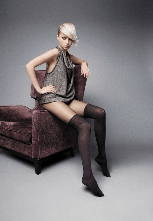 LISA rajstopy a la pończochy prążek 20den i 60den czarne imitacja pończoch, imitujące pończochy