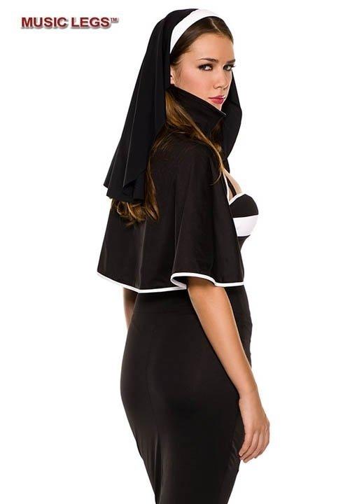 NUN DELUXE czarno-biały kostium zakonnicy, 3 części