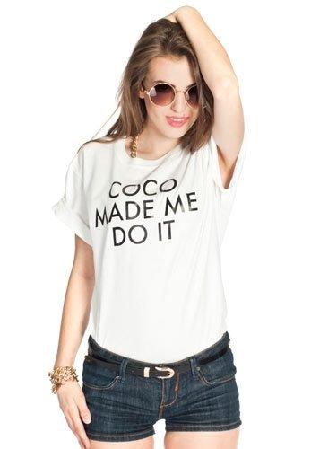 COCO MADE ME biały oversize z fajnym napisem
