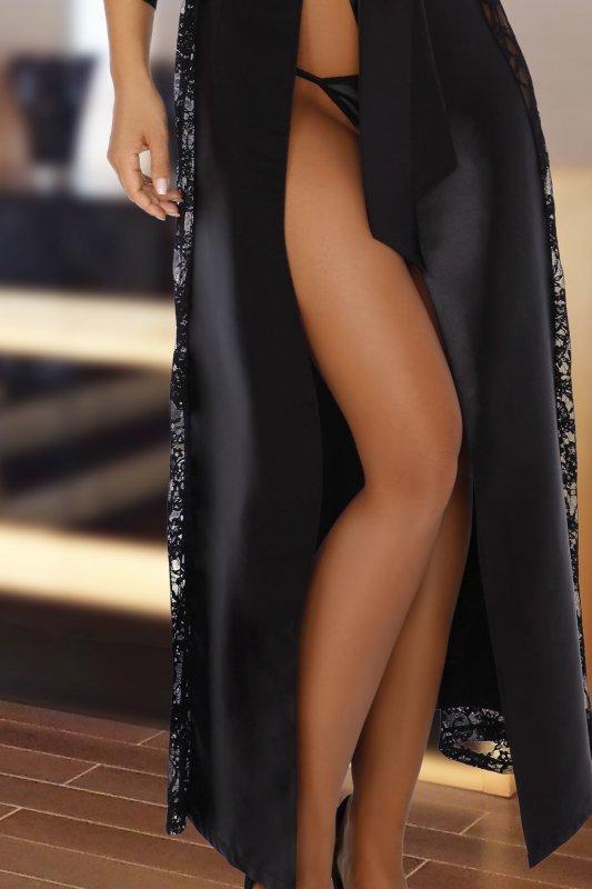 BOUQUET BLACK długi szlafrok z koronką