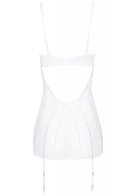RAVENNA biała koszulka z paskami do pończoch