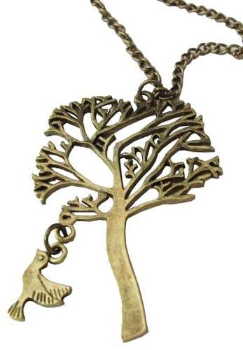 TREE przywieszka w kształcie drzewa z ptakiem, krótki łańcuszek, kolor ciemne złoto