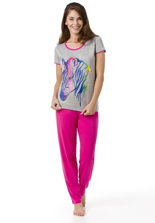 ZEBRA PINK szara piżama z krótkim rękawem, różowe spodnie, kolorowa zebra