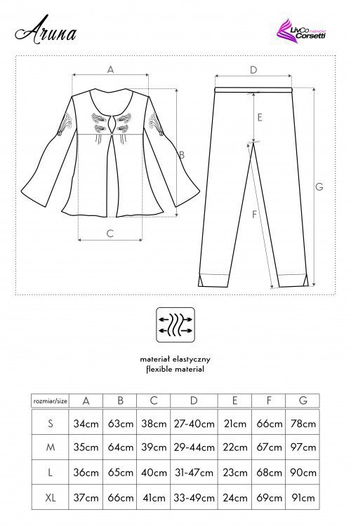 Aruna czarna piżama rozmiar - M