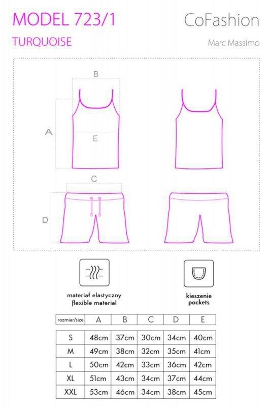 MODEL 723/1 piżama rozmiar S - TURQUOISE
