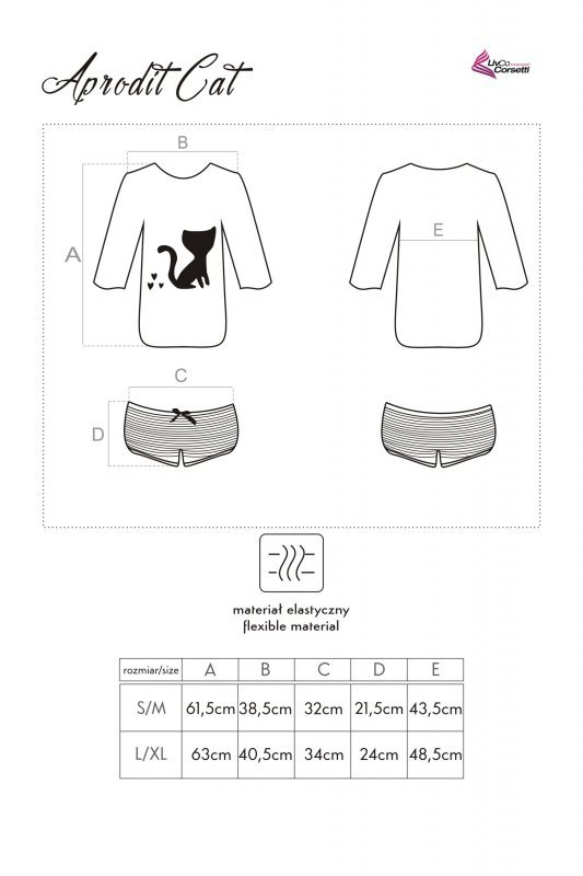 APRODIT CAT piżama damska z bawełny S/M