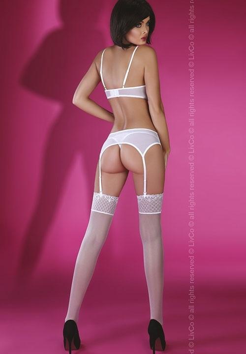 GEVA WHITE komplet białej bielizny: biustonosz z fiszbinami, stringi, pas do pończoch