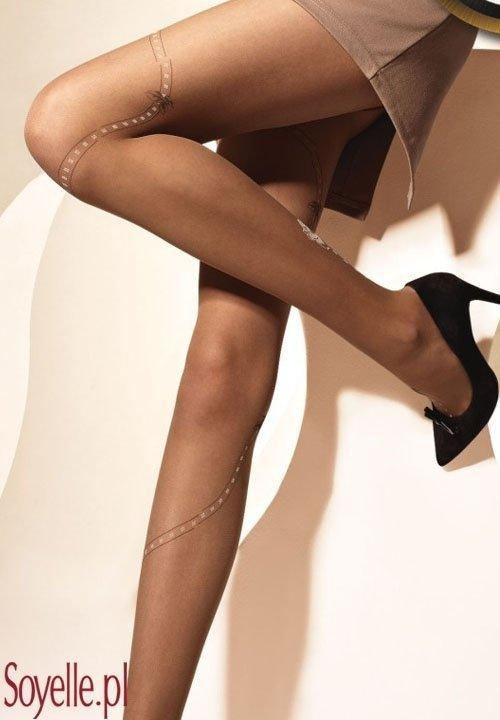 DENI ANN 03 rajstopy w róże, ozdobna część bikini czarne, beżowe
