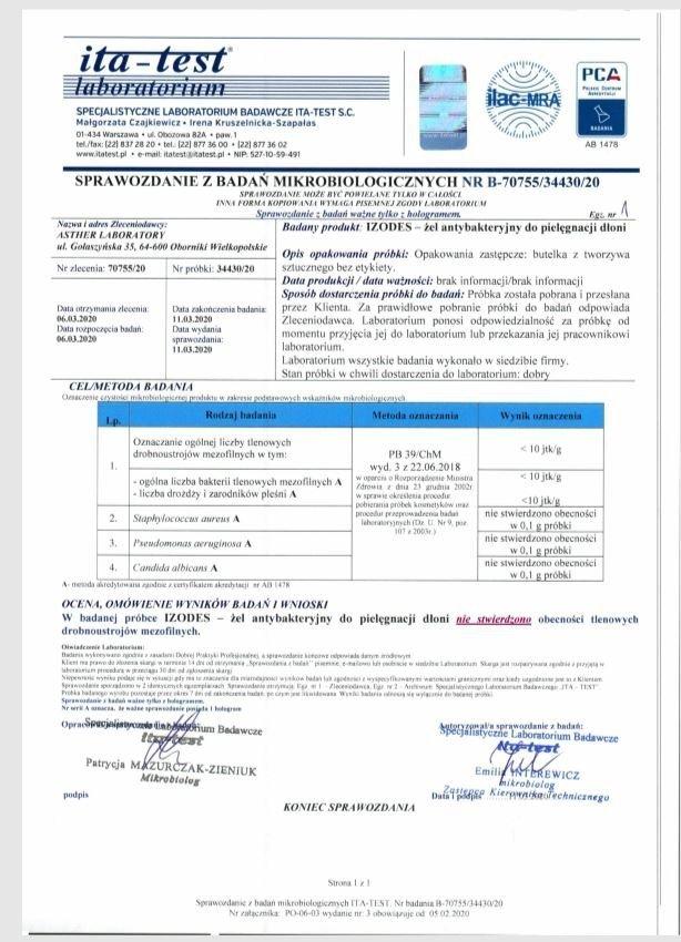 Żel antybakteryjny z aloesem Bio Labs 60 ml certyfikat